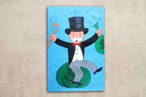 cuadro alec monopoly al oleo arte moderno monopoly man oleo