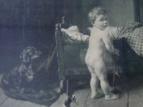 cuadro alemán c1908 niño juguetes steinmetz noris - no envío