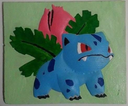 cuadro alto relieve pokemon yvisaur para pintar