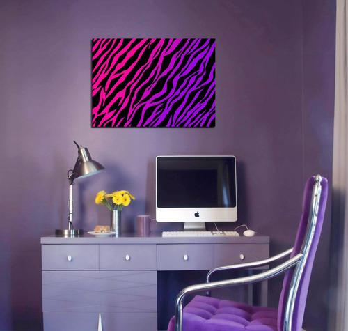 cuadro animal print cebra rosa negro minimalista 20x30cm