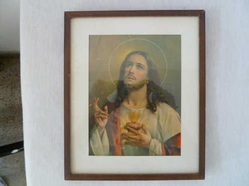 cuadro antiguo con imagen de jesucristo.