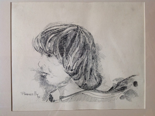 cuadro antiguo con niño, firmado p. moncelli