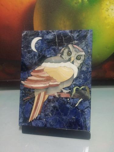 cuadro antiguo de buho en marmol made in brasil