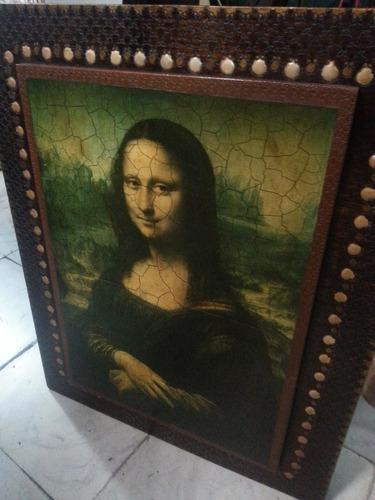cuadro antiguo de la monalisa en madera tallado