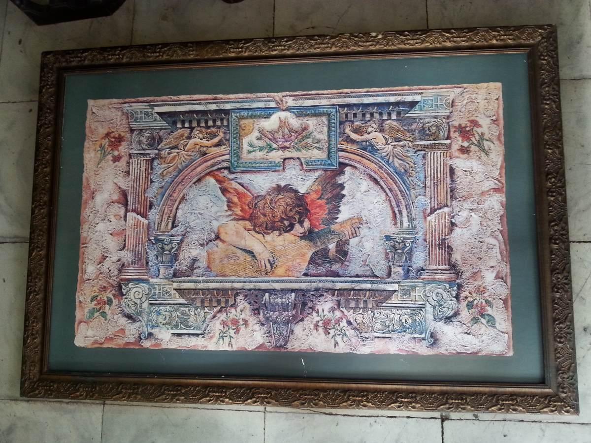 Cuadro antiguo de postal de angeles marco madera 150 for Marco cuadro antiguo