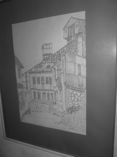 cuadro antiguo dibujo 1973 hecho a mano valparaiso
