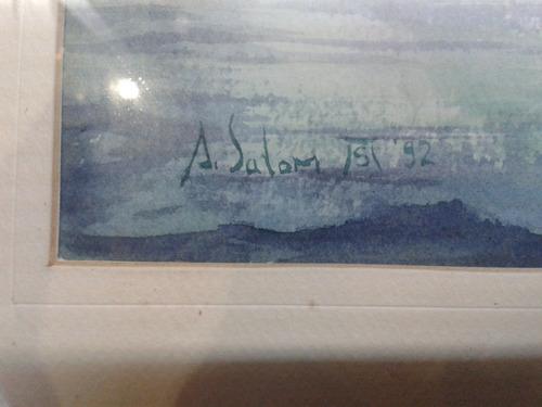 cuadro antiguo en acuarela firmado asolom 51 del año 92