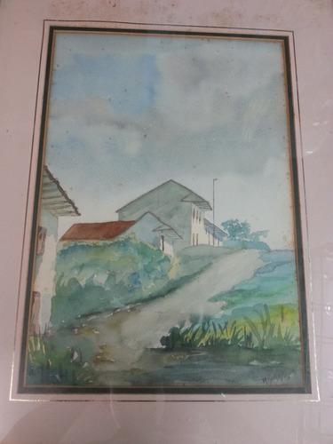 cuadro antiguo en acuarela tema pueblo firmado acuña 85