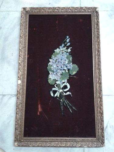 cuadro antiguo en gamuza y oleo en alto relieve