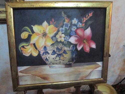 cuadro antiguo flores en jarrón ming pintura oleo tela lino