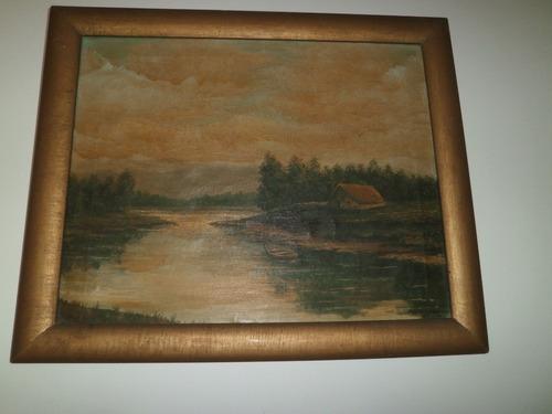 cuadro antiguo grande pintura tela al oleo paisaje firmado