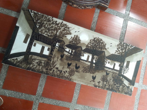 cuadro antiguo oleo sobre lienzo de paisaje popayan