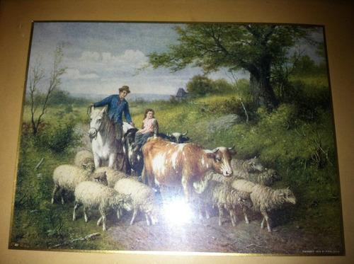 cuadro antiguo ovejas