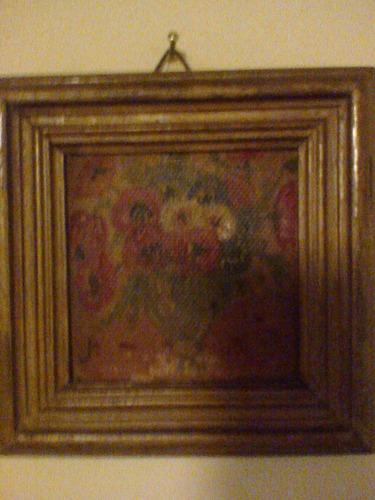 cuadro antiguo. pintura miniatura firmada con marco.