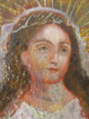 cuadro antiguo pintura oleo lienzo marco dorado madera