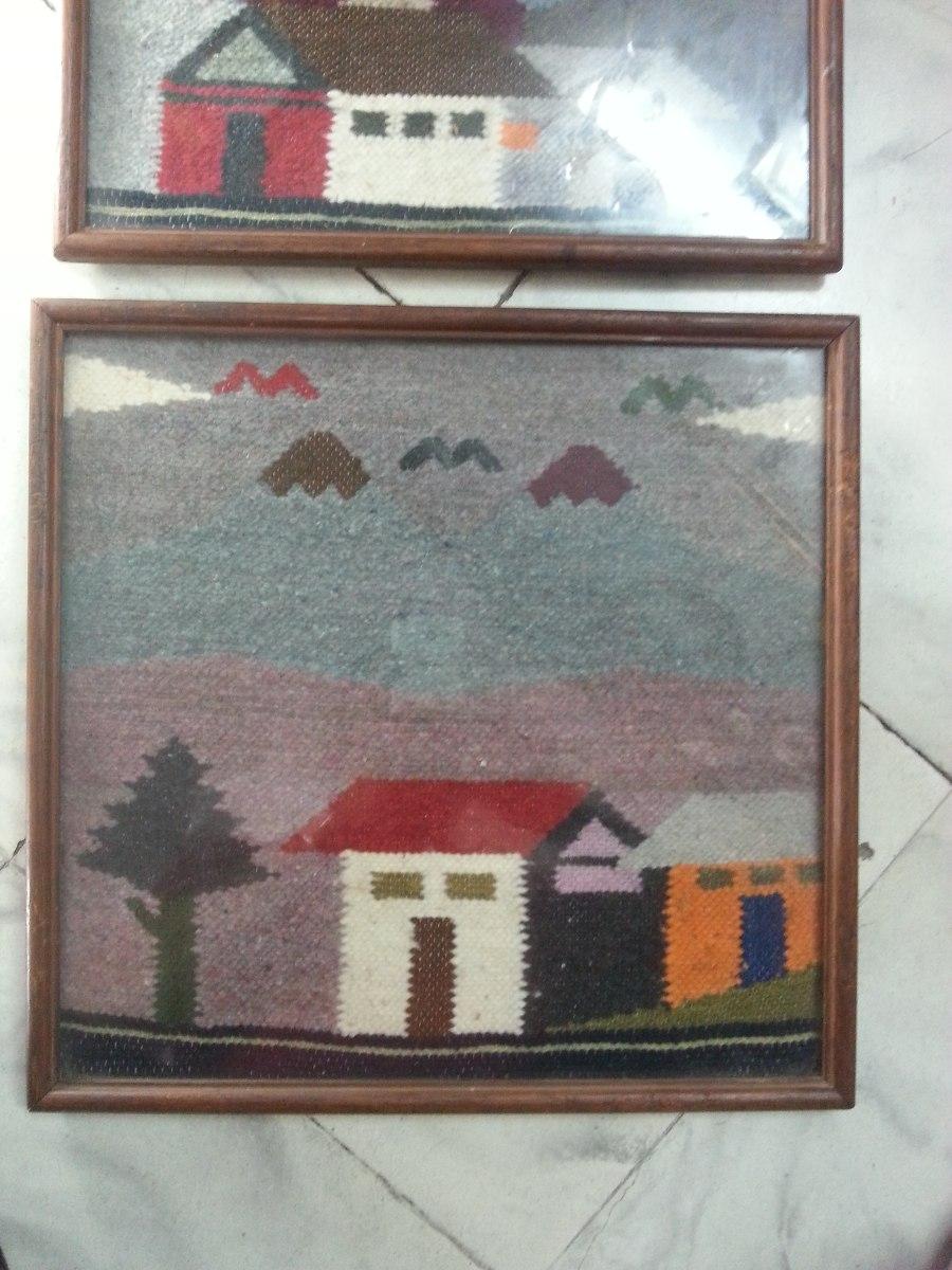 Cuadro antiguo tejido en lana marco en madera precio x c u for Marco cuadro antiguo