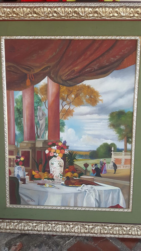 cuadro antiguo tema bella epoca firmado pablo morillo