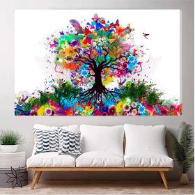 Cuadro Arbol Acuarela Abstracto Colores Lienzo 90x140cm
