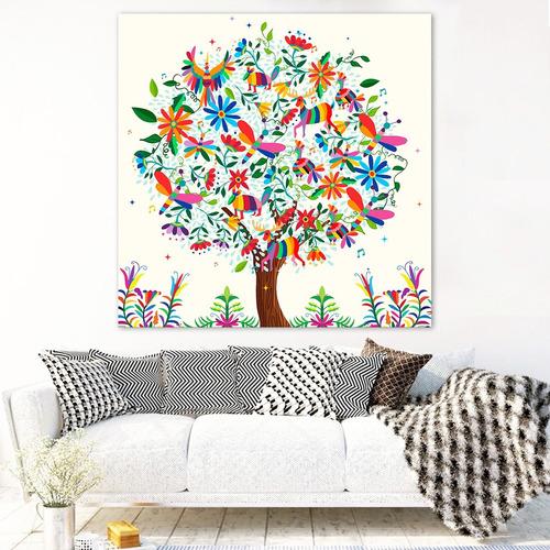 cuadro arbol de la vida arte mexicano en canvas de algodón ecológico moderno hd materiales de calidad