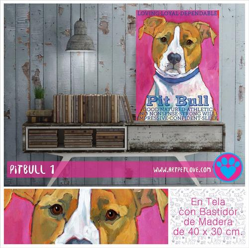 cuadro - art pet love - pitbull 1.