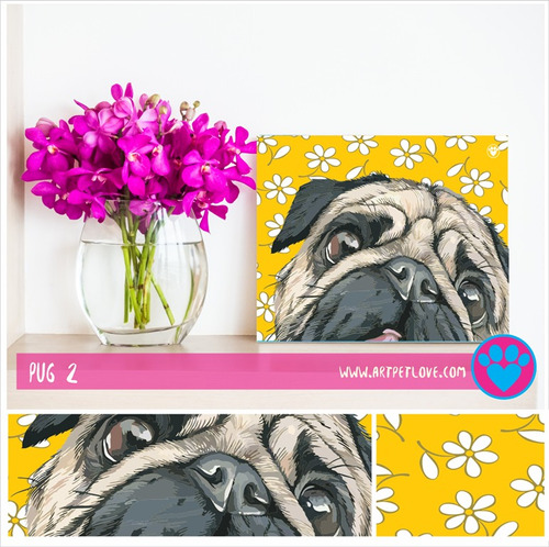 cuadro - art pet love - pug 2.