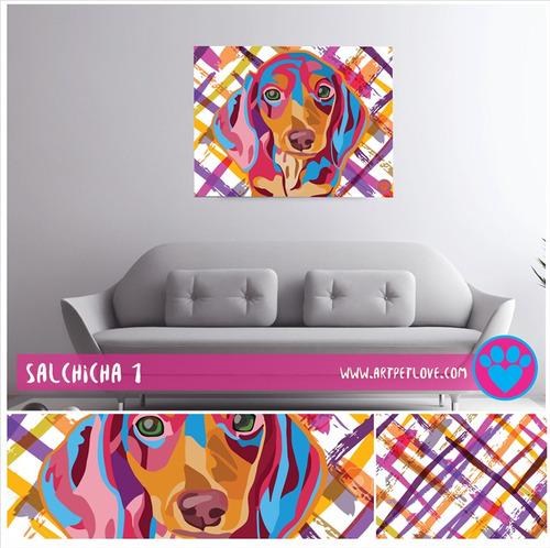 cuadro art pet love -  salchicha 1.