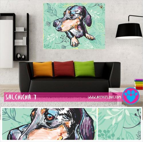 cuadro art pet love -  salchicha 7.