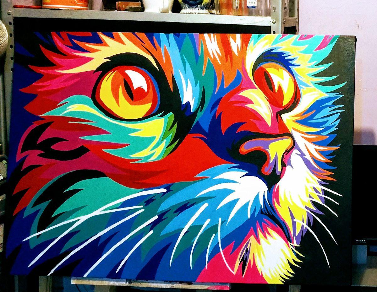 Cuadro arte abstracto de un gato al oleo 100 1 - Nombres de colores de pinturas ...