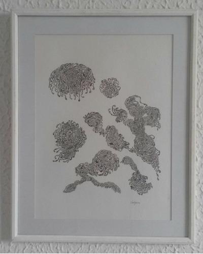 cuadro arte  abstracto enmarcado 40 x50 artista caligiuri