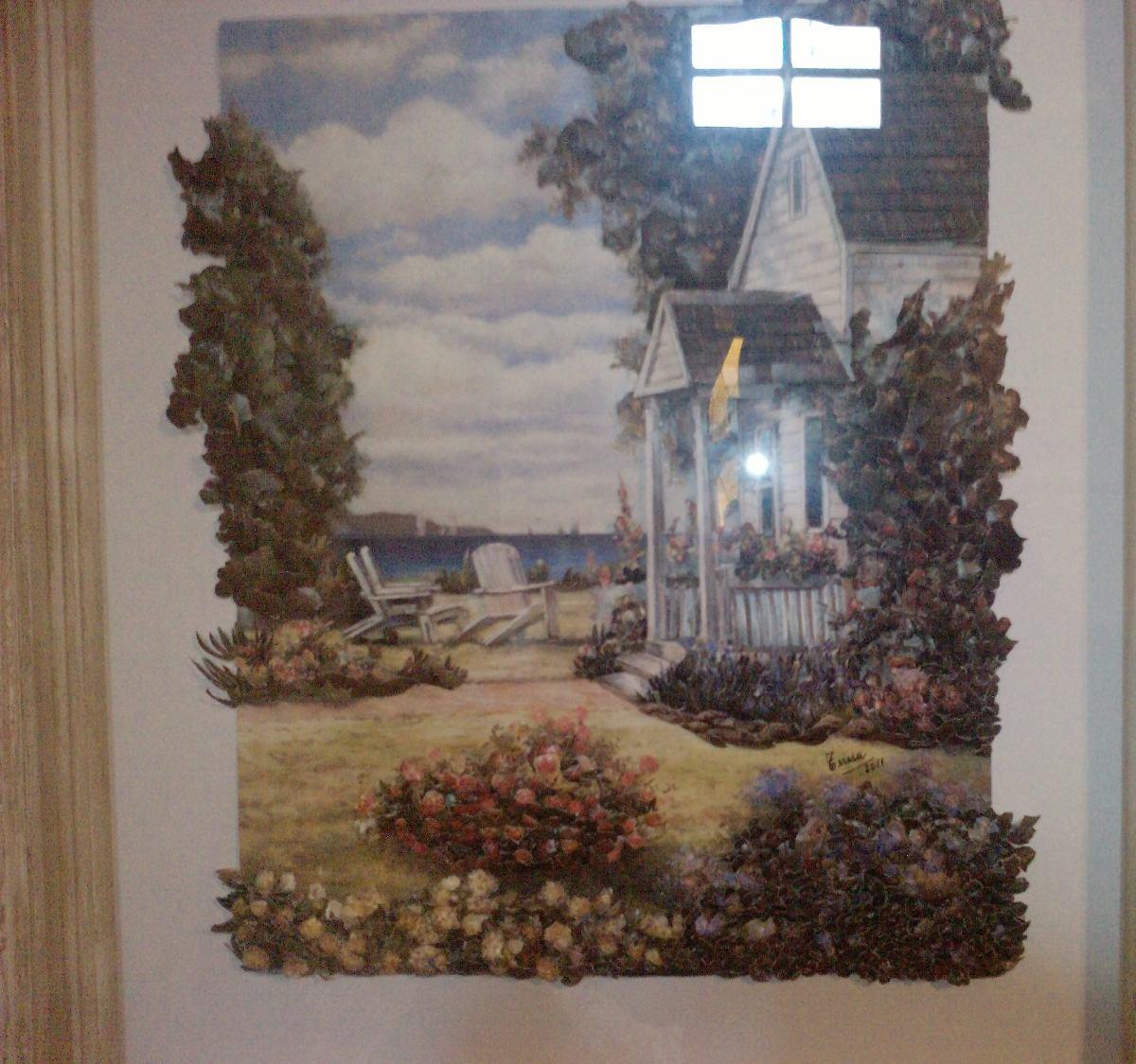 Cuadro Arte Frances Marco Madera Tallada. - $ 9.452,50 en Mercado Libre