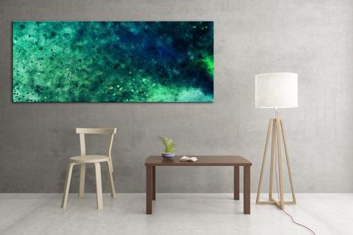 cuadro arte moderno digital canvas big bang universo verde tamaño 180 x 60 calidad museo pieza de conversación