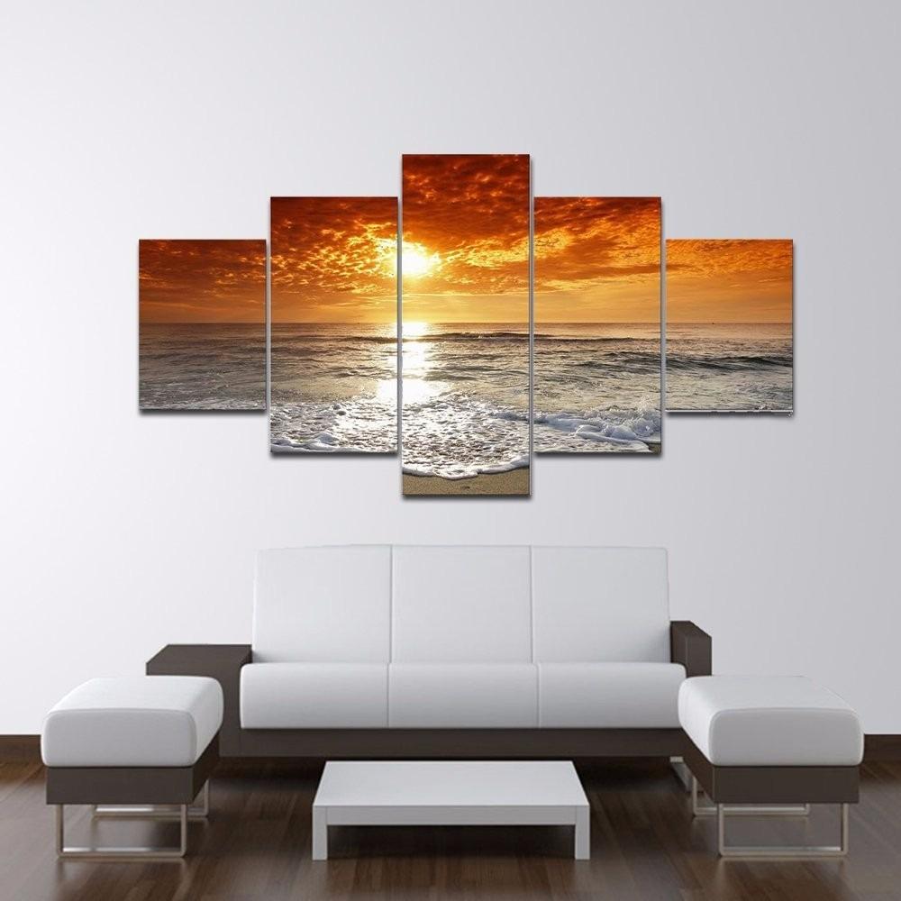 Cuadro atardecer hd en 5 paneles de lienzo decorativo - Lienzos decorativos ...
