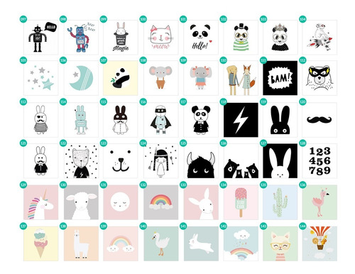 cuadro bebes. box 20x20. dibujo dibujo panda
