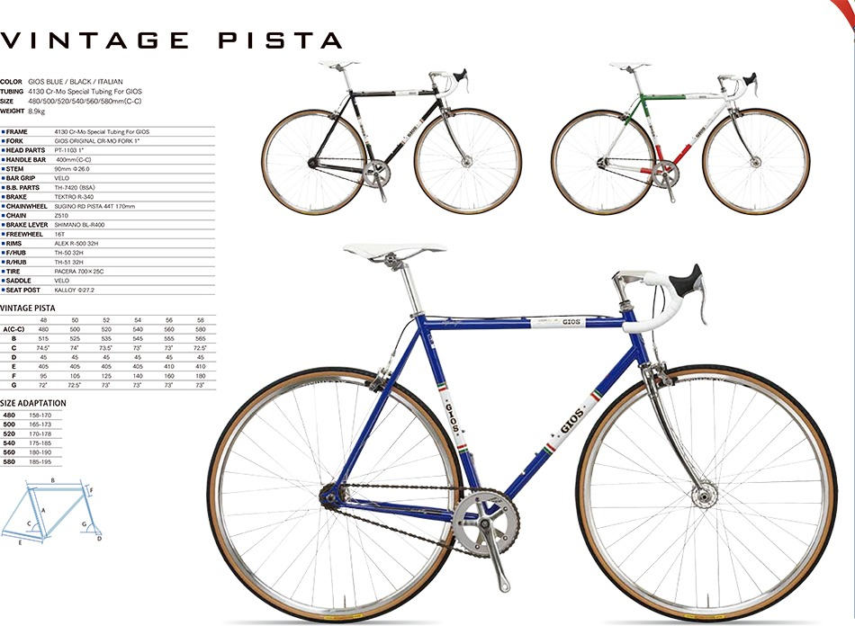 Cuadro Bicicleta Ruta Fixie Vintage Gios Alum C/horq-jgo Dir ...