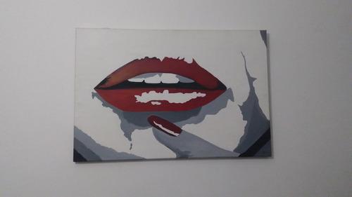 cuadro boca labios retro moderno pintado al óleo decoracion