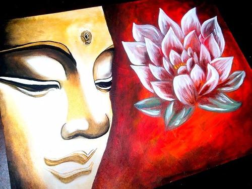 cuadro buda-flor de loto pintado a mano artdols