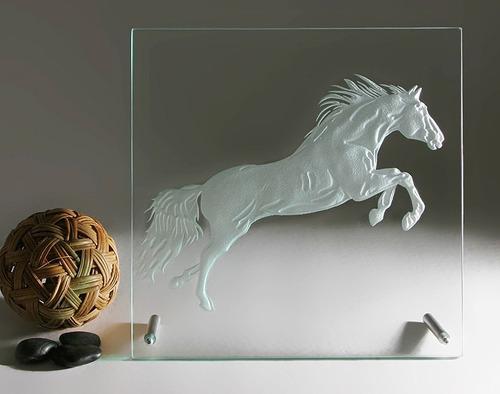 cuadro caballo de cristal moderno grabado a mano