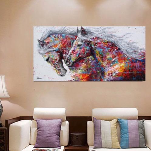 cuadro caballos abstracto colores moderno en lienzo canvas opción de enmarcado tintas ecológicas