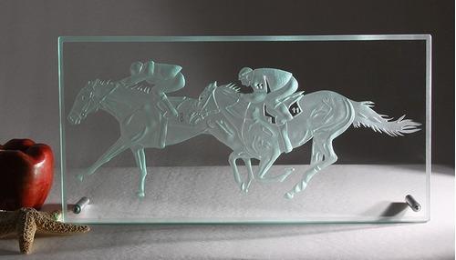 cuadro caballos de cristal moderno decoración mesa/escritori
