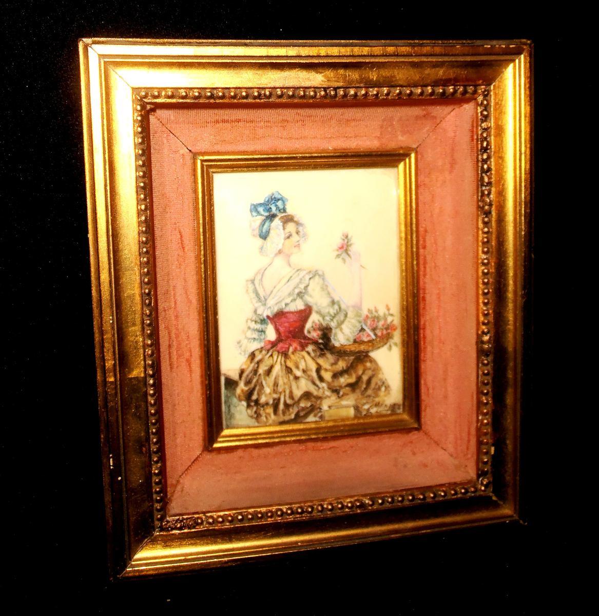 Cuadro Camafeo Pintura Original Material Noble Marco Dorado ...