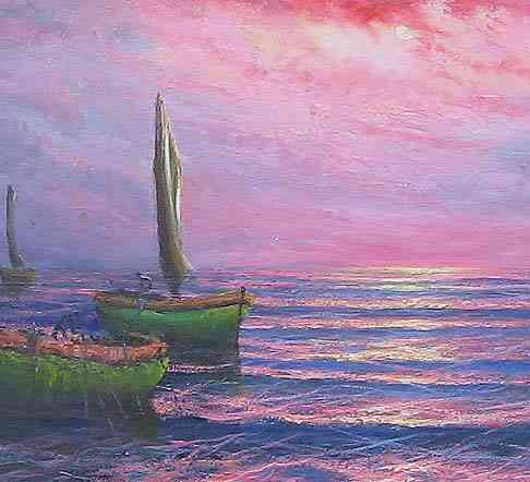 cuadro carlos filippo oleo paisaje marino amanecer orig firm