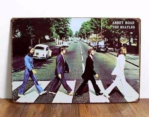 cuadro cartel the beatles abbey road rock roll chapa vintage