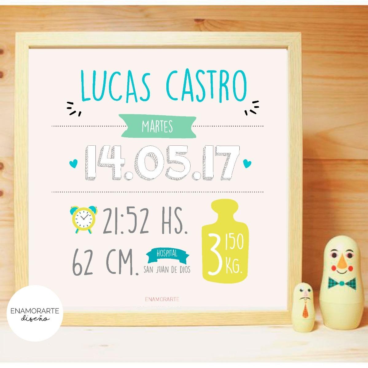 Cuadro Certificado De Nacimiento - Recuerdo - Bebe - Regalo - $ 480 ...