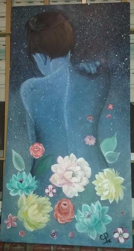 cuadro chica flores 78 cm x 40 cm pintado con acrílico
