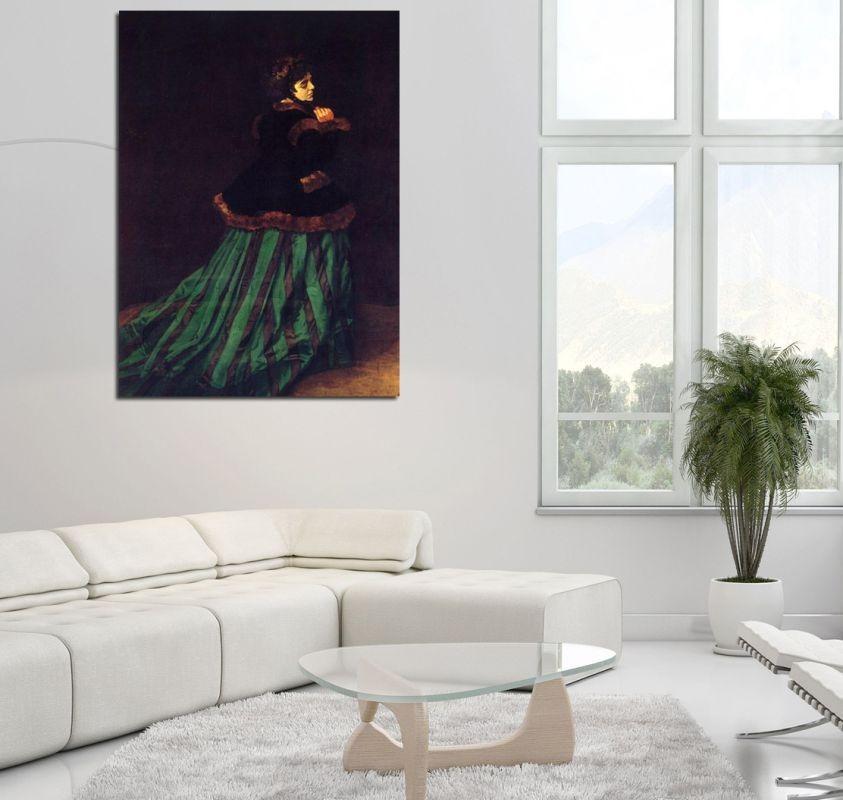 Mujer con vestido verde monet