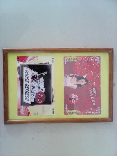 cuadro con dos imagenes de coca cola