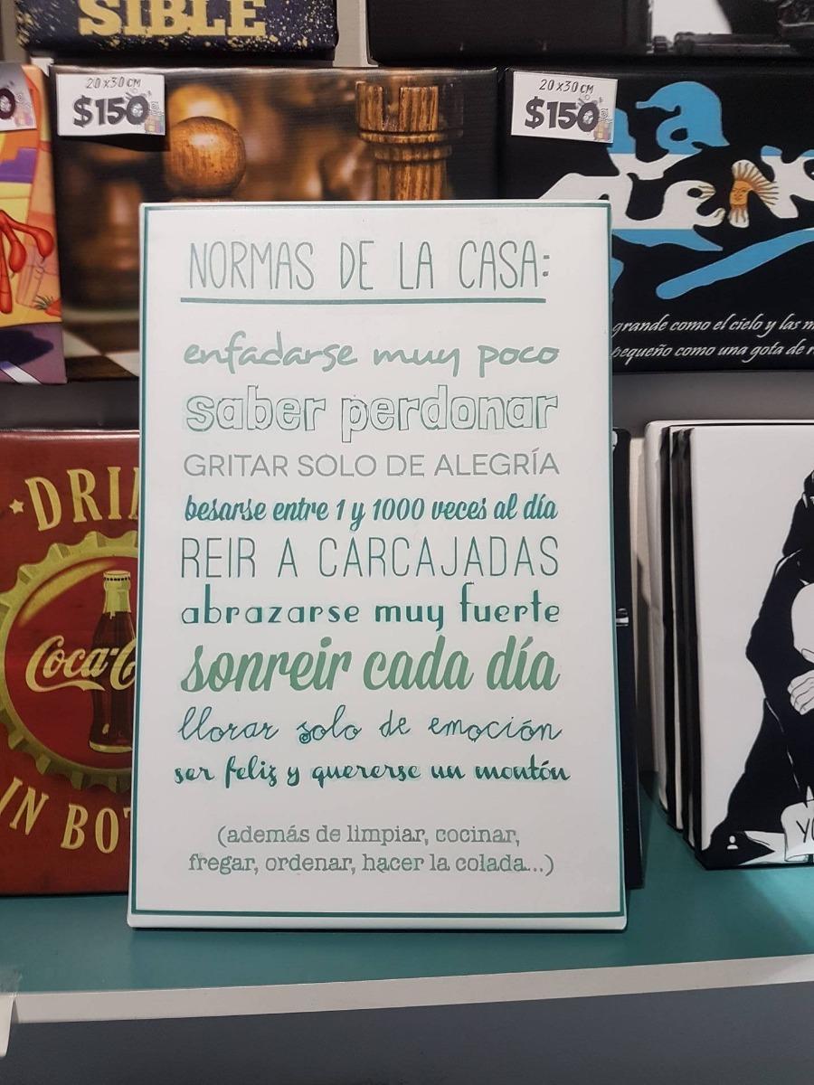Cuadro Con Frase Reglas De La Casa Amor Familia 30x45cm 320 00