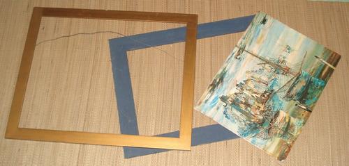 cuadro copia de originale en textura de tela, desarmado
