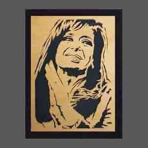 cuadro cristina, néstor kirchner, evita, perón calado madera