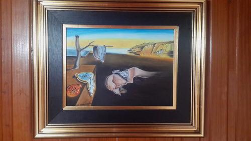 cuadro dalí la persistencia de la memoria pintado a mano